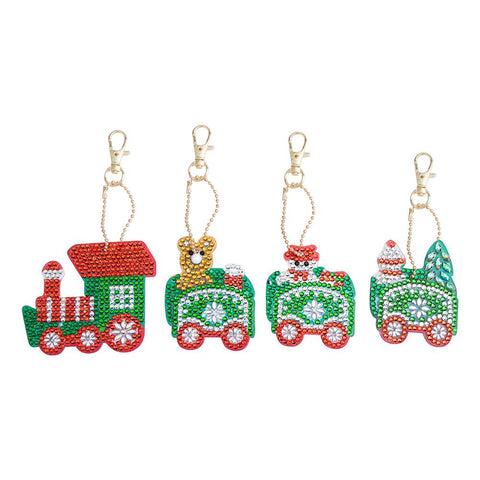 4pcs DIY Crystal Rhinestones Full Drill Diamond Painting Christmas Train Keychain Decor