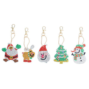 5pcs/Set DIY Crystal Rhinestones Full Drill Diamond Painting Christmas Keychain Decor