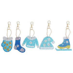 5pcs/Set DIY Crystal Rhinestones Full Drill Diamond Painting Keychain Christmas Pendants