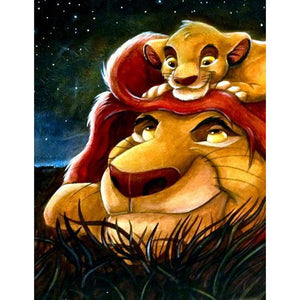 The Lion King DIY Full Drill Round Drill Diamond Painting(Size: 40*50cm/15.8*19.7'')