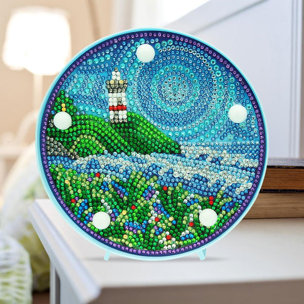 Lighthouse 5D DIY Crystal Rhinestones Diamond Painting LED Lamp