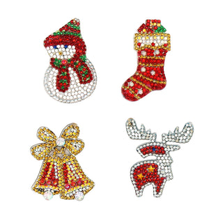 4pcs DIY Full Drill Crystal Rhinestones Diamond Painting Christmas Keyring Decor
