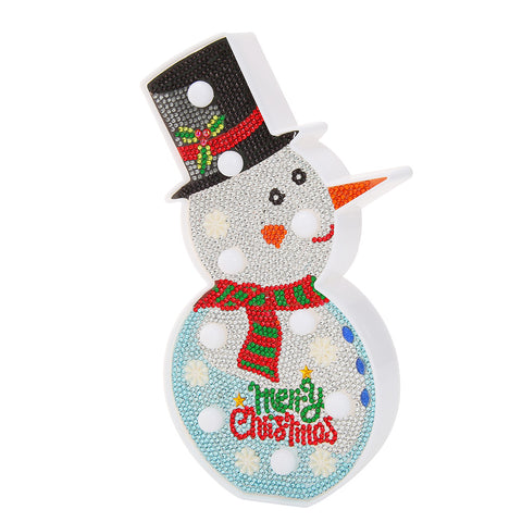 DIY Special Shaped Diamond Painting Christmas Snowman LED Night Light Decor