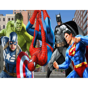 Marvel Characters The Avengers Spideman Captain America DIY Full Drill Round Drill Diamond Painting(40x50cm)