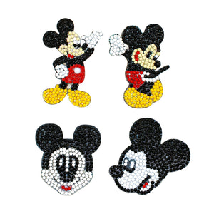 4pcs Micky DIY Full Round Drill Diamond Painting Keychain Gift