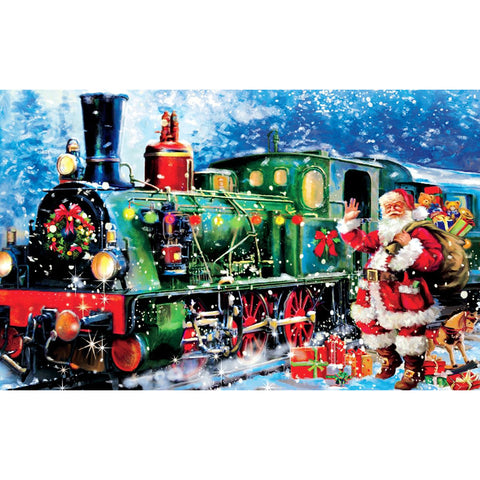 Christmas Santa Claus Train DIY Full Drill Round Drill Diamond Painting