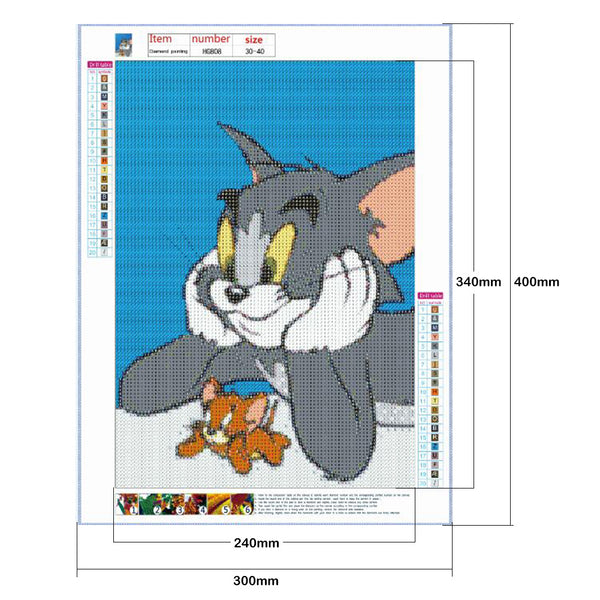 Tom Cat and Jerry 5D DIY Full Drill Round Drill Diamond Painting