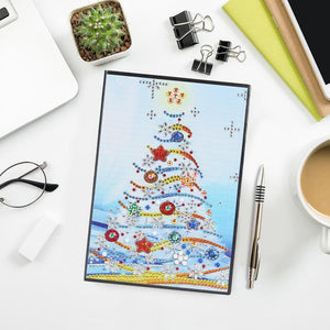 Christmas Tree DIY Crystal Rhinestones Diamond Painting 60 Pages A5 Notebook