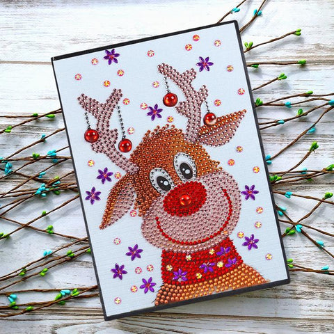 Christmas Elk DIY Crystal Rhinestones Diamond Painting 60 Pages A5 Notebook Gift