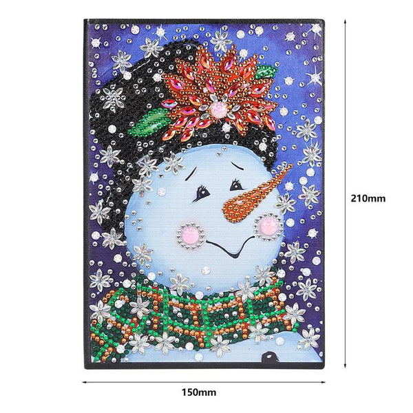 Christmas Snowman DIY Crystal Rhinestones Diamond Painting 60 Pages A5 Notebook Gift