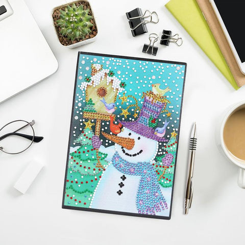 Christmas Snowman DIY Crystal Rhinestones Diamond Painting 60 Page A5 Diary Book