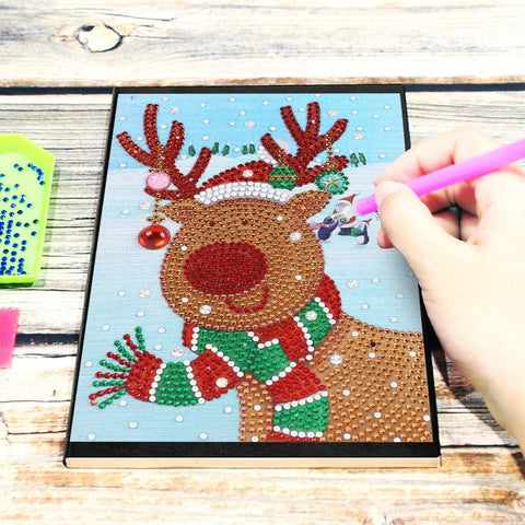 Christmas Elk DIY Crystal Rhinestones Diamond Painting 60 Pages A5 Diary Book