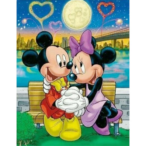 Mickey Mouse and Minnne Mouse 5D DIY Full Drill Round Drill Diamond Painting(40*50cm/15.8*19.7'')