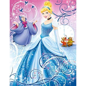 Cinderella 5D DIY Full Drill Round Drill Diamond Painting(40X50cm)