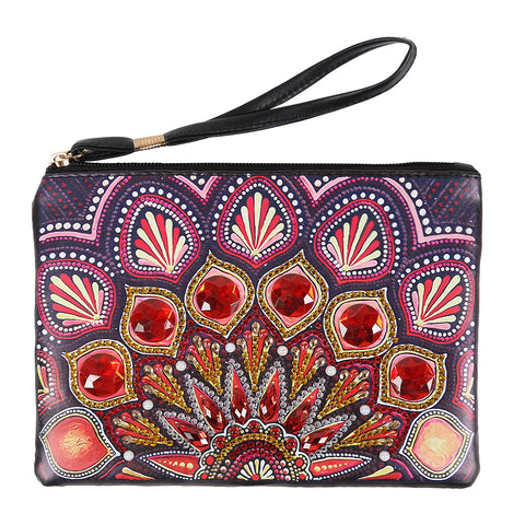 DIY Mandala Crystal Rhinestones Diamond Painting Wristlet Wallet Women Clutch