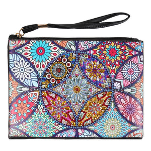 DIY Mandala Crystal Rhinestones Diamond Painting Wristlet Wallet Zipper Clutch
