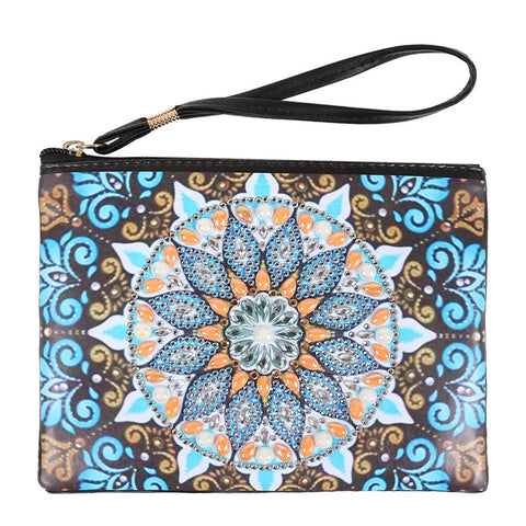 DIY Mandala Crystal Rhinestones Diamond Painting Wristlet Clutch Zipper Wallet