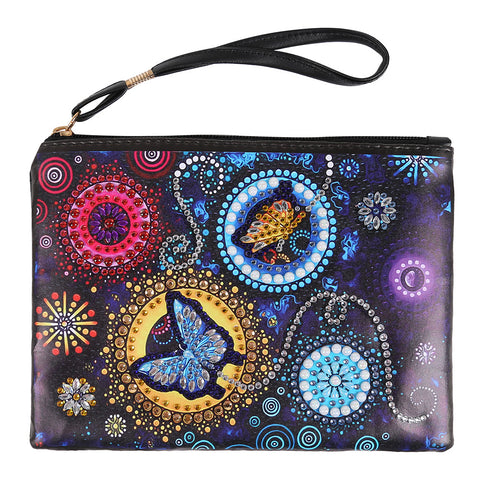 DIY Butterfly Crystal Rhinestones Diamond Painting Wristlet Clutch Women Wallet