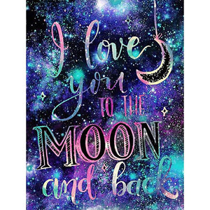I Love You To the Moon and Back DIY Full Drill Round Drill Diamond Painting