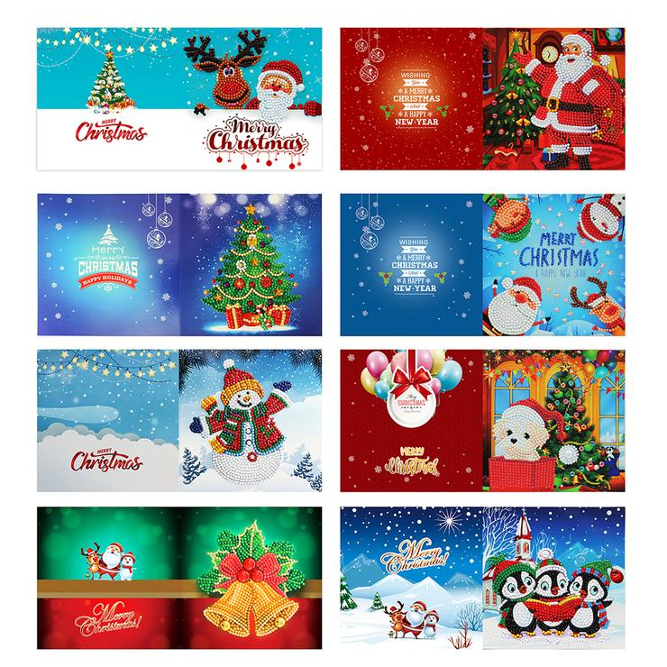 8pcs DIY Special Shaped Crystal Rhinestone Diamond Painting Christmas Greeting Card Gifts