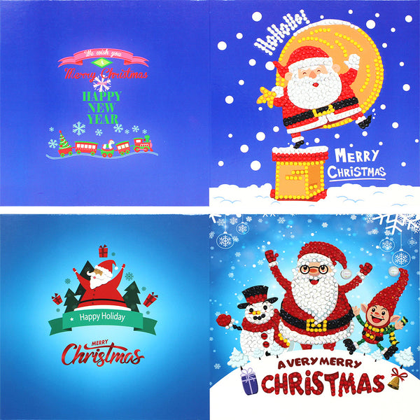 8pcs 5D DIY Partial Special Drills Diamond Painting Xmas Christmas Greeting Cards Party Gifts