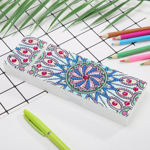 DIY Mandala Special Shaped Diamond Painting 2 Grids Students Pencil Case Storage Container