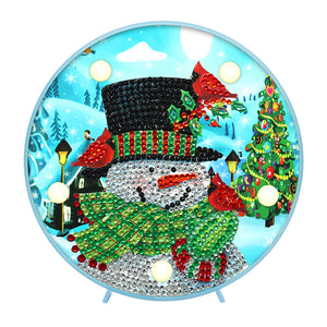 DIY Crystal Rhinestone Diamond Painting Xmas Snowman Light Home Decor