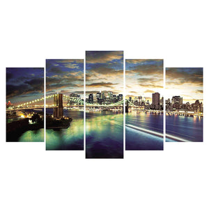 City Night View 5 pcs-in one Combination 5D DIY Full Drill Round Drill Diamond Painting