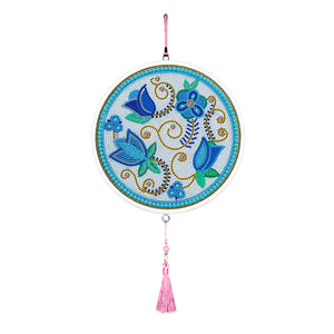Flower Diamond Painting Pink Tassels Crystal Rhinestones Full Drill Home Decor Pendants