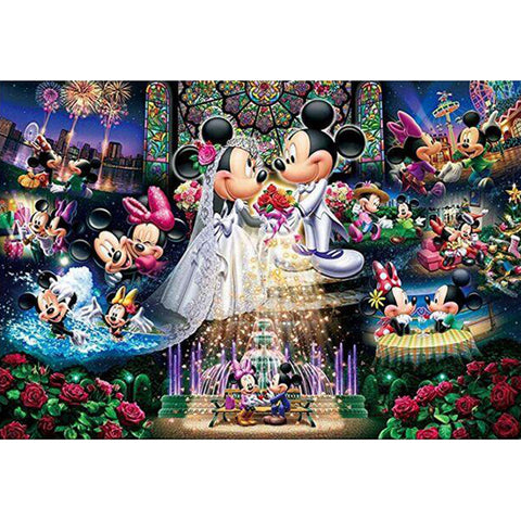 Mickey and Minnie's Wedding DIY Full Drill Round Drill Diamond Painting(50x40cm)