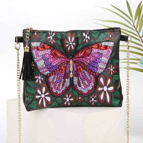 DIY Butterfly Crystal Rhinestones Diamond Painting Leather Chain Crossbody Bag