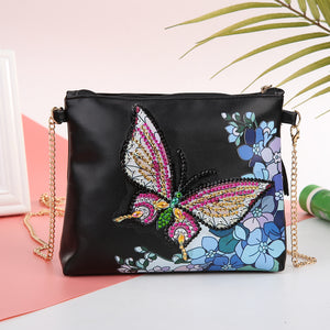 DIY Butterfly Crystal Rhinestones Diamond Painting Leather Chain Shoulder Bag