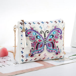 Butterfly DIY Crystal Rhinestones Diamond Painting Leather Chain Messenger Bag