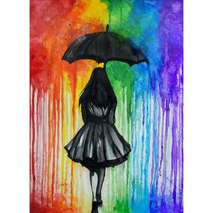 Girl Holding an Umbrella DIY Full Drill Round Drill Diamond Painting