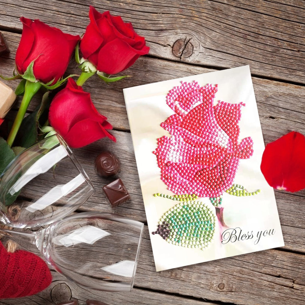 Diamond Painting Greeting Card Flower Printed Birthday Valentine Bless Gift