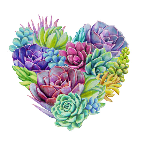 Heart-Shaped Succulents Flower DIY Full Drill Round Drill Diamond Painting