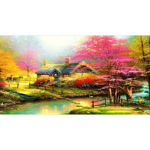 Countryside Scenery 5D DIY Full Drill Round Drill Diamond Painting(100x55cm)