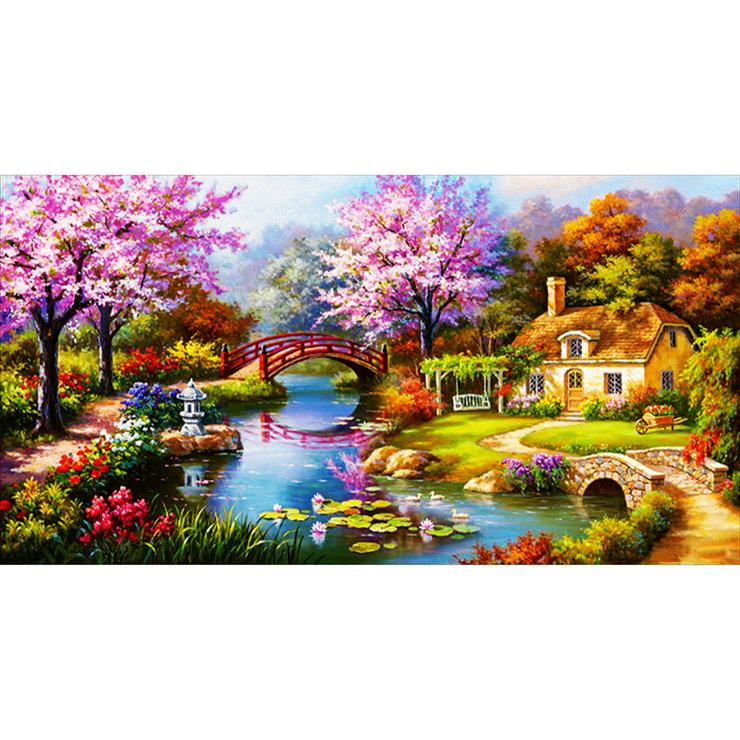 "Red Bridge Flower Park DIY Full Drill Round Drill Diamond Painting(39.38X21.66"")"