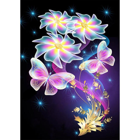 Abstract Flower and Butterfly DIY Full Drill Round Drill Diamond Painting