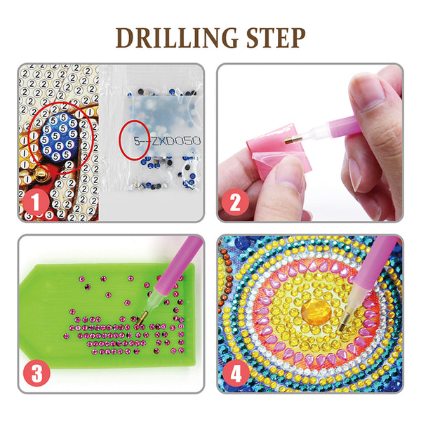 5pcs/Set DIY Crystal Rhinestones Full Drill Diamond Painting Keychain Flamingo Decor