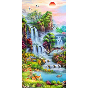Red Maple Leaf Waterfall Landscape DIY Full Drill Round Drill Diamond Painting(45x85cm)