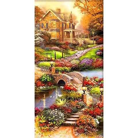 Countryside Villa DIY Full Drill Round Drill Diamond Painting(45x85cm)