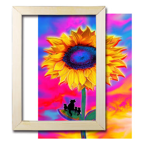 Wood Sticks Photo Canvas Oil Painting Diamond  Painting Artworks Display Frame
