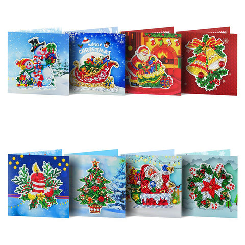 8pcs Special-shaped Drill Diamond Painting Christmas Greeting Cards