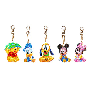 Disney Cartoon 5pcs/Set DIY Diamond Painting Keychains