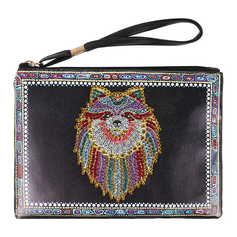 DIY Wolf Crystal Rhinestones Diamond Painting Women Wristlet Bag Zipper Wallet