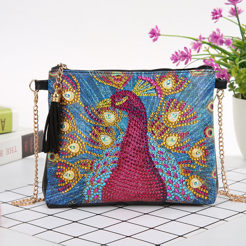 DIY Peafowl Crystal Rhinestones Diamond Painting Leather Chain Crossbody Bag