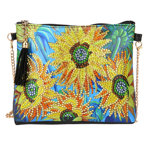 DIY Sunflower Crystal Rhinestones Diamond Painting Leather Chain Shoulder Bag