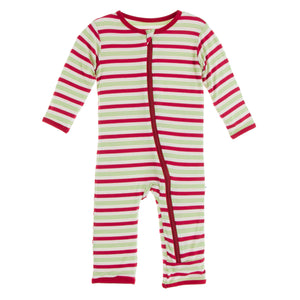 KICKEE PANTS WINTER CELEBRATIONS PRESALE COVERALL W/ ZIP 2020 CANDY CANE STRIPE