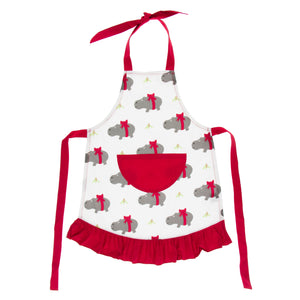 KICKEE PANTS WINTER CELEBRATIONS RUFFLE APRON NATURAL CHRISTMAS HIPPO